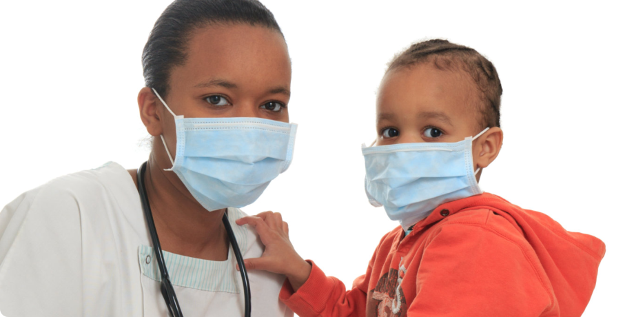 boy and doctor wearing face mask